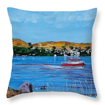 Bodega Bay From Campbell Cove Throw Pillow