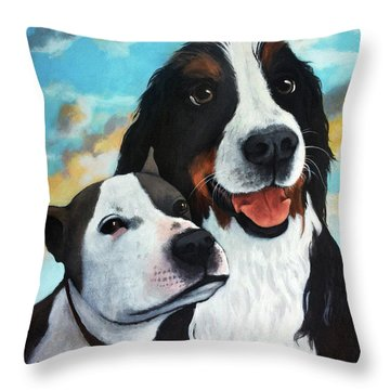 Bodhi And Lily  Pet Portrait Throw Pillow