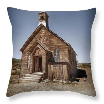 Throw Pillow featuring the photograph Bodie Church by Jim  Hatch