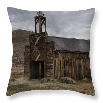 Throw Pillow featuring the photograph Bodie Fire Station With Lightning by Sandra Bronstein
