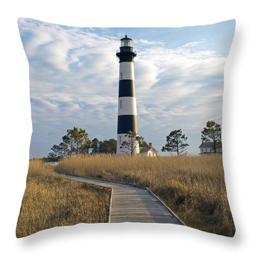 Bodie Island Lighthouse Throw Pillow by Marion Johnson