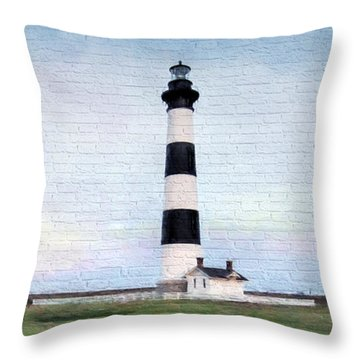 Bodie Island Lighthouse Mural Art Throw Pillow by Marion Johnson