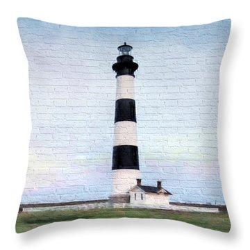 Bodie Island Lighthouse Mural Art Throw Pillow