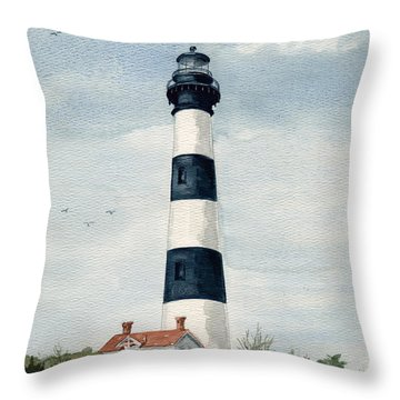 Throw Pillow featuring the painting Bodie Island Lighthouse by Nancy Patterson