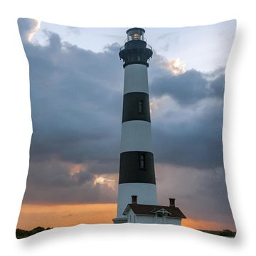 Bodie Island Lighthouse Sunset Throw Pillow