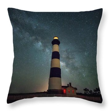 Bodie Lighthouse And Milky Way Throw Pillow