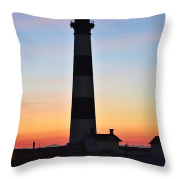 Bodie Lighthouse At Sunrise Throw Pillow
