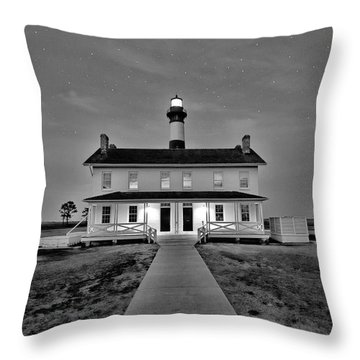 Bodie Lighthouse Night Throw Pillow by Marion Johnson