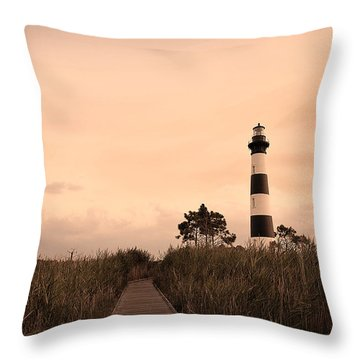 Bodie Lighthouse Sunset Throw Pillow