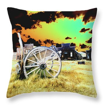 Throw Pillow featuring the photograph Bodie Wagon by Jim and Emily Bush