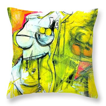 Throw Pillow featuring the drawing Body Language by Helen Syron