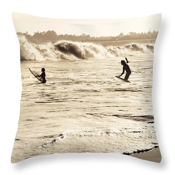 Body Surfing Family Throw Pillow by Marilyn Hunt