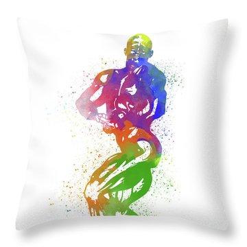 Bodybuilder Watercolor 2 Throw Pillow