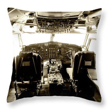 Throw Pillow featuring the photograph Boeing 747 Cockpit 21 by Micah May