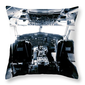 Throw Pillow featuring the photograph Boeing 747 Cockpit 22 by Micah May