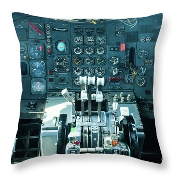 Throw Pillow featuring the photograph Boeing 747 Cockpit 23 by Micah May