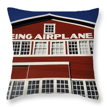 Boeing Airplane Hanger Number One Throw Pillow by David Lee Thompson