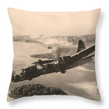 Boeing B-17 Bomb Run 1944 Throw Pillow