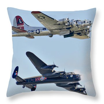 Boeing B-17g Flying Fortress And Avro Lancaster Throw Pillow by Alan Toepfer