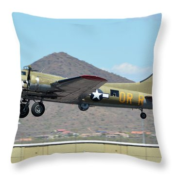 Throw Pillow featuring the photograph Boeing B-17g Flying Fortress N93012 Nine-o-nine Deer Valley Arizona April 13 2016 by Brian Lockett