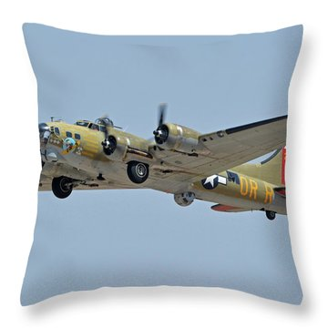 Throw Pillow featuring the photograph Boeing B-17g Flying Fortress N93012 Nine-o-nine Phoenix-mesa Gateway Airport Arizona April 15, 2016 by Brian Lockett