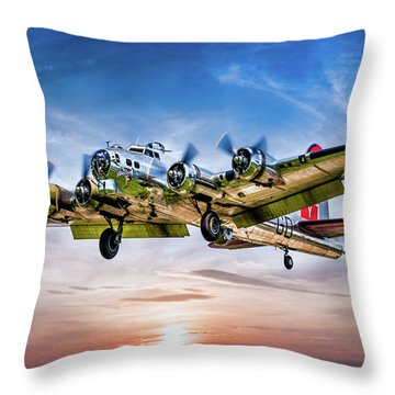 Throw Pillow featuring the photograph Boeing B17g Flying Fortress Yankee Lady by Chris Lord