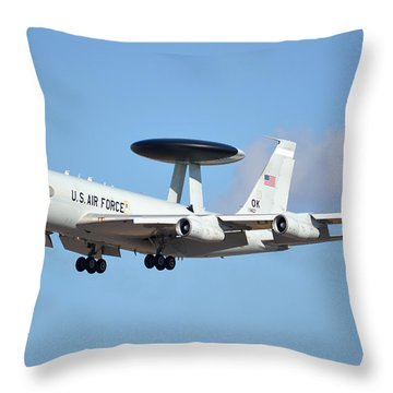 Boeing E-3b 71-1407 Sentry Phoenix Sky Harbor January 9 2015 Throw Pillow
