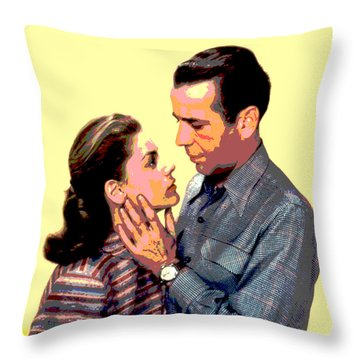 Throw Pillow featuring the mixed media Bogart And Bacall by Charles Shoup