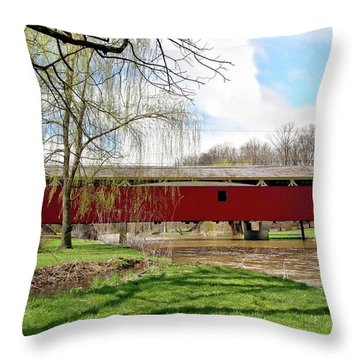 Bogert Covered Bridge Throw Pillow