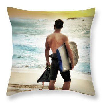 Boggie Boarder At Waimea Bay Throw Pillow by Jim Albritton