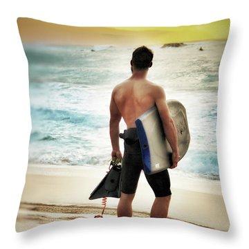 Boggie Boarder At Waimea Bay Throw Pillow