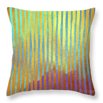 Bohemian Gold Stripes Abstract Throw Pillow