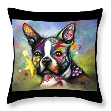 Boston Terrier Throw Pillow by Patricia Lintner