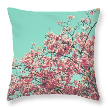 Boho Cherry Blossom 2- Art By Linda Woods Throw Pillow