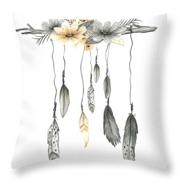 Boho Feathers Floral Branch Throw Pillow