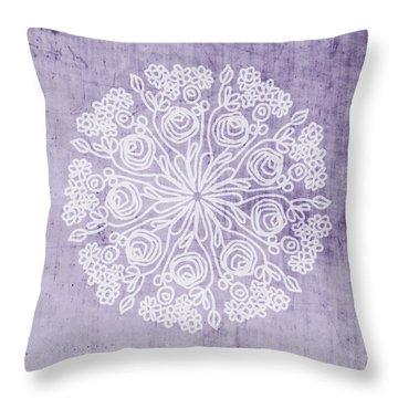 Boho Floral Mandala 1- Art By Linda Woods Throw Pillow