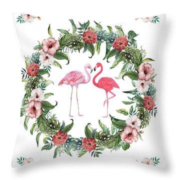 Throw Pillow featuring the digital art Boho Floral Tropical Wreath Flamingo by Georgeta Blanaru