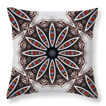 Boho Flower Throw Pillow by Mo T