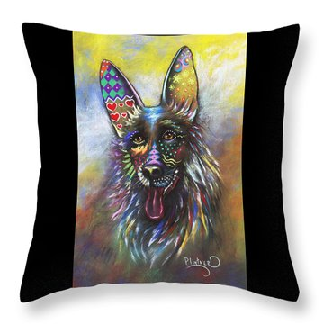 Throw Pillow featuring the mixed media German Shepherd by Patricia Lintner