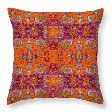 Boho Hippie Garden - Tangerine Throw Pillow