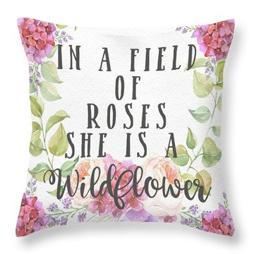 Boho In A Field Of Roses She Is A Wildflower Pillow Throw Pillow