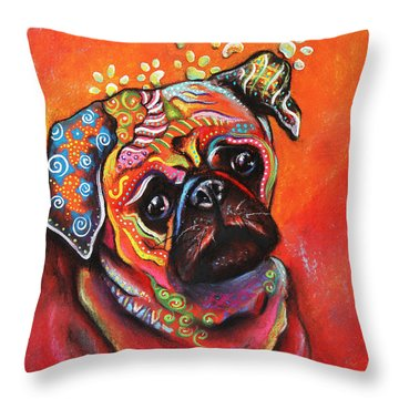 Pug Throw Pillow by Patricia Lintner