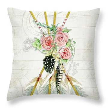 Throw Pillow featuring the painting Boho Western Arrows N Feathers W Wood Macrame Feathers And Roses Aim High by Audrey Jeanne Roberts