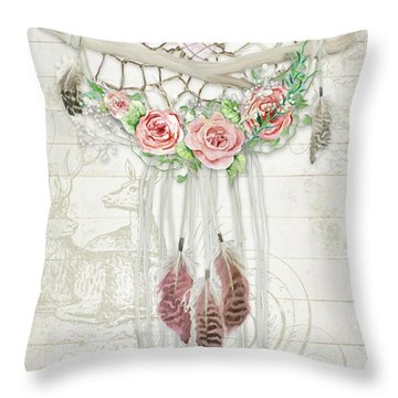 Throw Pillow featuring the painting Boho Western Dream Catcher W Wood Macrame Feathers And Roses Dream Beautiful Dreams by Audrey Jeanne Roberts