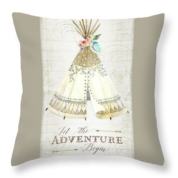 Throw Pillow featuring the painting Boho Western Teepee With Arrows N Feathers W Wood Tribal Border by Audrey Jeanne Roberts