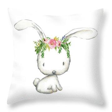 Boho Woodland Bunny Floral Watercolor Throw Pillow