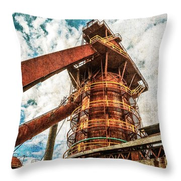 Boiler At Sloss Furnaces Throw Pillow by Phillip Burrow