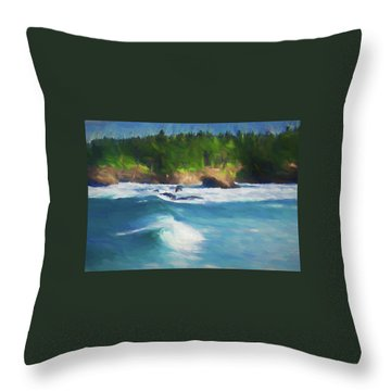 Boiler Bay Blues Throw Pillow