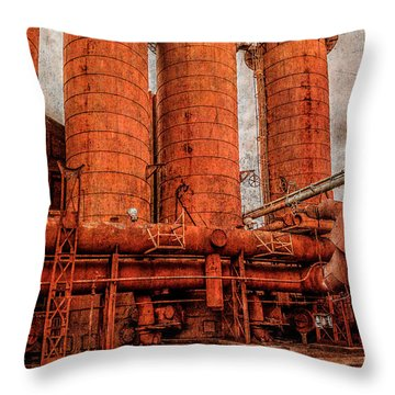 boilers at Sloss Throw Pillow by Phillip Burrow