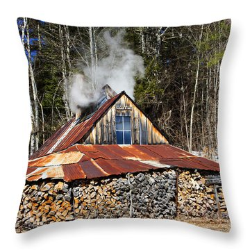 Boiling Sap To Make Maple Syrup  Throw Pillow